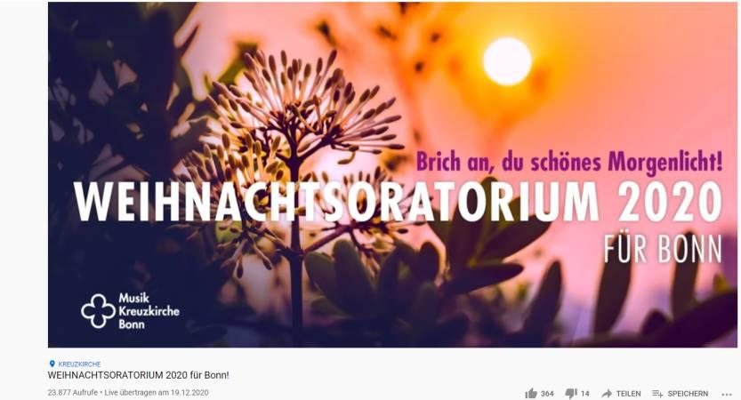 WEIHNACHTSORATORIUM 2020 BLEIBT ONLINE